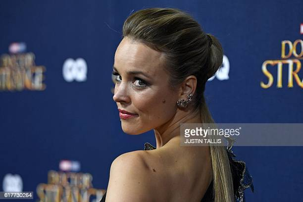 Canadian actress Rachel McAdams poses for photographers upon arrival at a launch event for the film Doctor Strange at Westminster Abbey in central...