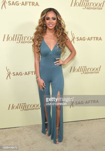 Canadian actress Vanessa Morgan attends the The Hollywood Reporter & SAG 2018 Emmy Nominee Night in Los Angeles, California, on September 14, 2018.