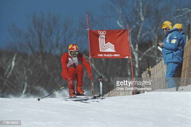 Canadian alpine ski racer Ken Read pictured in action competing in the Men's downhill skiing event at the 1980 Winter Olympics on Whiteface Mountain...