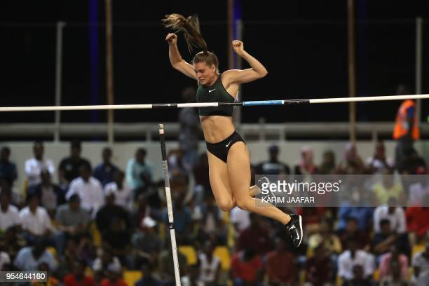 Canadian Alysha Newman competes in the women's pole vault during the Diamond League athletics competition at the Suhaim bin Hamad Stadium in Doha on...