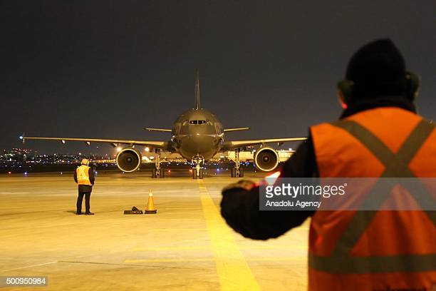 Canadian Armed Forces CC150 Polaris airbus lands at Toronto Pearson International Airport to support the Government of Canadas Operation PROVISION on...