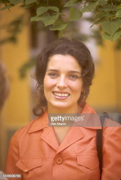 Canadian author, actress, photographer and activist Margaret Trudeau in orange pantsuit visiting famed Bolshoi Ballet School in Moscow, Russian, May...