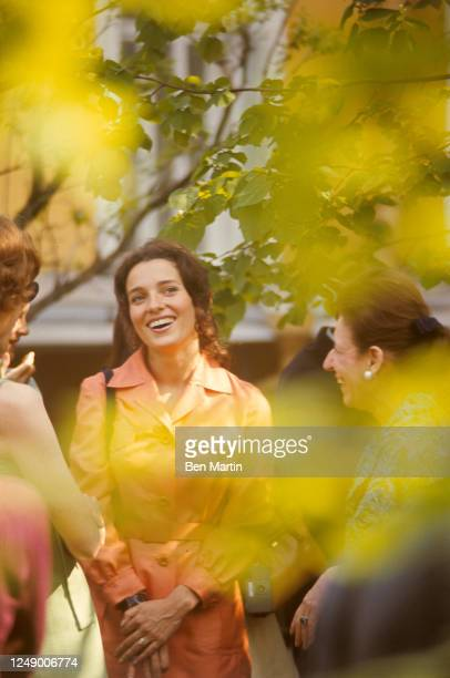 Canadian author, actress, photographer and activist Margaret Trudeau in orange pantsuit visiting the Bolshoi Ballet School in Moscow, Russian, May...
