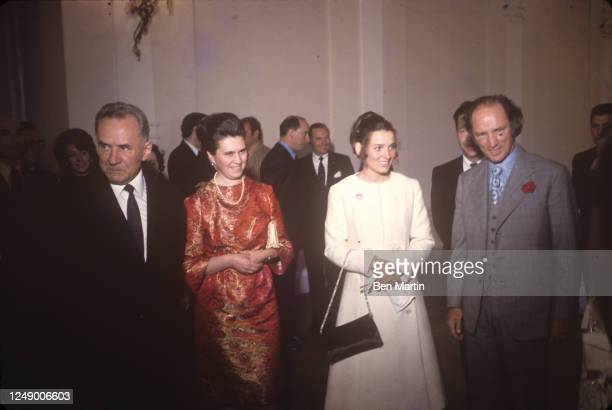 Canadian author, actress, photographer and activist Margaret Trudeau and Canadian politician Pierre Trudeau with Russian politician Aleksei Kosygin...