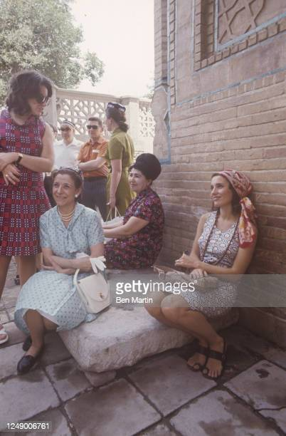 Canadian author, actress, photographer and activist Margaret Trudeau resting outside Tamerlane's tomb in Samarkand, Russia, 1971.