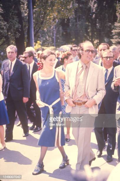 Canadian author, actress, photographer and activist Margaret Trudeau and Canadian politician Pierre Trudeau touring Red Square, Moscow, Russia, May...