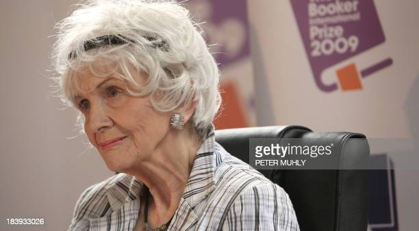 Canadian author Alice Munro speaks to the media as she receives her Man Booker International award at Trinity College Dublin in Dublin Ireland on...