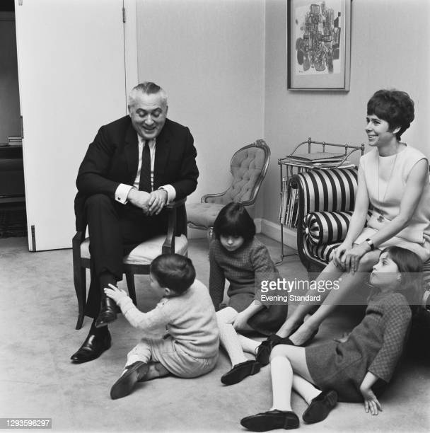 Canadian author and theatre critic Milton Shulman of the Evening Standard with his wife, etiquette writer Drusilla Beyfus, and their children Jason,...