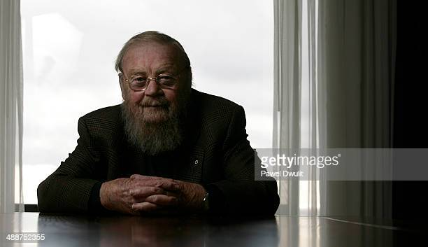 Canadian Author Farley Mowat poses for a portrait at the Westin Harbour Castle Hotel in Toronto Ontario Mowat was in town to promote his new book...