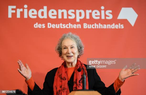 Canadian author Margaret Atwood attends a press conference on October 14 2017 at the Frankfurt Book Fair in Frankfurt am Main western Germany Atwood...