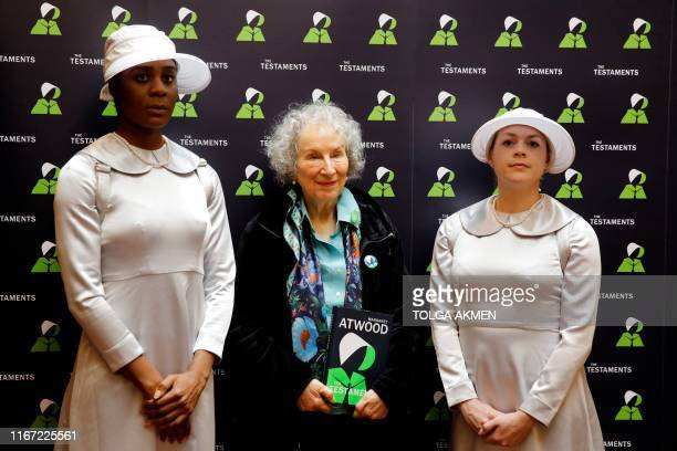 Canadian author Margaret Atwood poses during a photocall following the release of her new book 'The Testaments' a sequel to the awardwinning 1985...