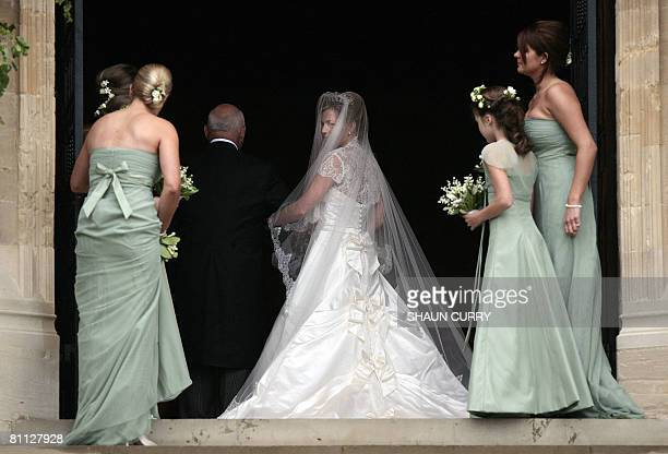 Canadian Autumn Kelly arrives for her wedding to Peter Phillips grandson of Queen Elizabeth at the St George's Chapel at Windsor Castle on May 17...