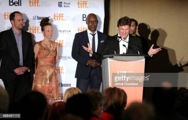 Canadian awards jury members Jason Anderson Ingrid Veninger and TIFF Artistic Director Cameron Bailey and actor Zaib Shaikh present writer/Director...