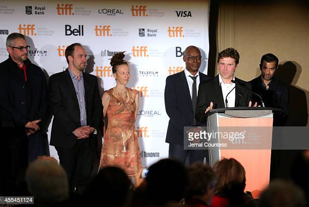 Canadian awards jury members Michael Dowse, Jason Anderson, Ingrid Veninger an TIFF Artistic Director Cameron Bailey and actor Zaib Shaikh present...