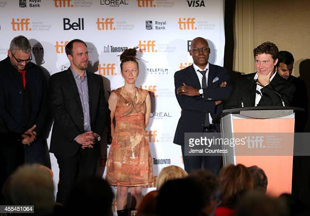 Canadian awards jury members Michael Dowse, Jason Anderson, Ingrid Veninger and TIFF Artistic Director Cameron Bailey and actor Zaib Shaikh present...