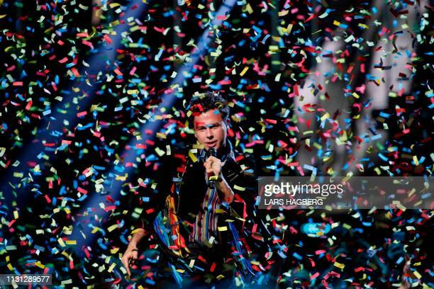 Canadian band Arkells singer Max Kerman performs during the Juno Music Awards at Budweiser Gardens in London, Ontario, Canada, on March 17, 2019.
