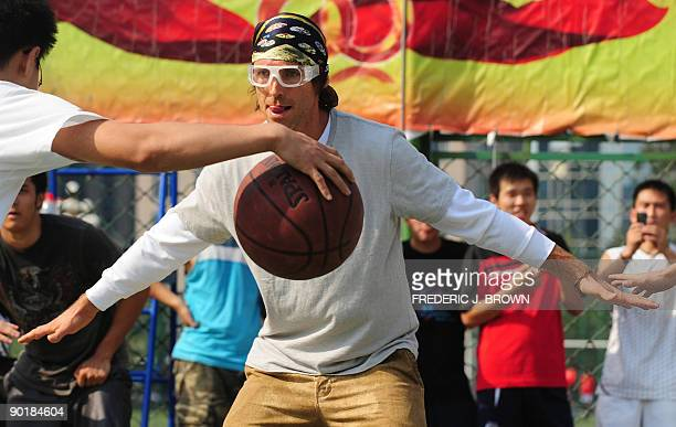 Canadian basketball star Steve Nash plays a pickup game of basketball at the Dongdan courts in central Beijing on August 30 2009 Nash a twotime NBA...