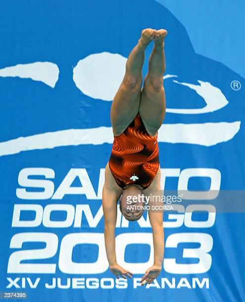 Canadian Blythe Hartley dives from 10m platform to win the bronze medal during the diving final 06 August 2003 at the Olympic Stadium at the XIV Pan...