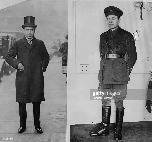 Canadian born British newspaper owner and politician, Max Aitken, also known as Lord Beaverbrook, in uniform in 1916 and wearing a top hat in 1925.