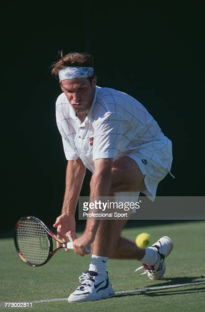 Canadian born British tennis player Greg Rusedski pictured in action during competition to reach the fourth round of the Men's Singles tennis...