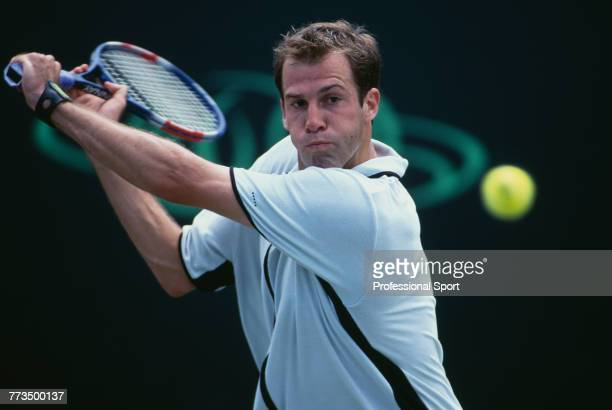 Canadian born British tennis player Greg Rusedski pictured in action during competition to reach the fourth round of the Men's Singles tournament at...