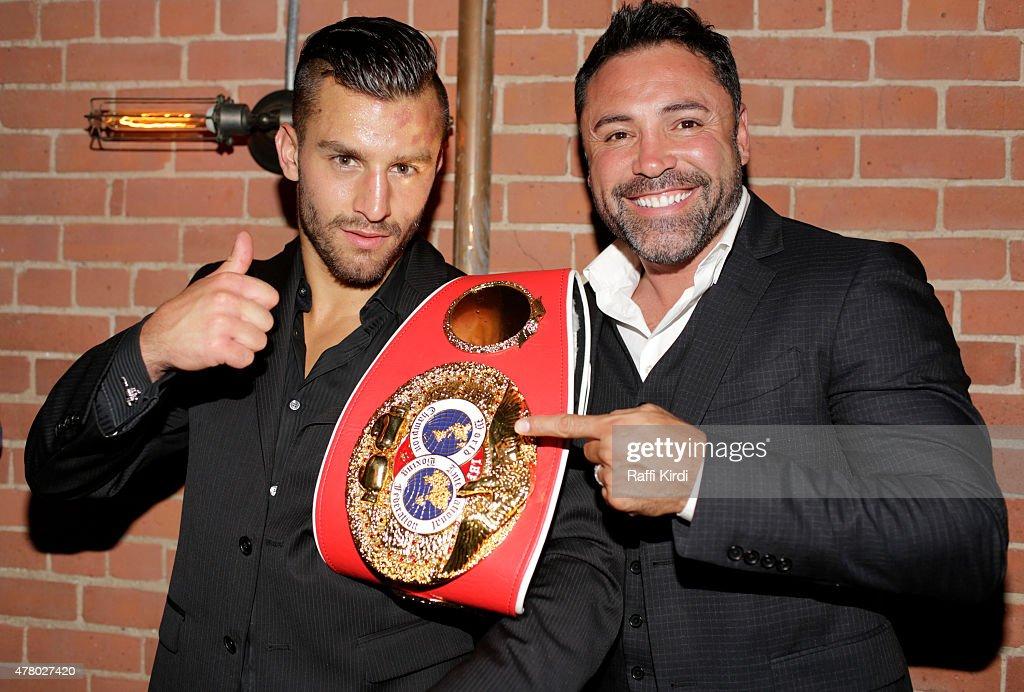 Boxing Superstar, Oscar de la Hoya & Former World Middleweight Champion, Bernard Hopkins, In Montreal To Celebrate New Middleweight Champion From Quebec, David Lemieux : News Photo