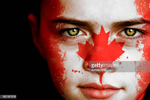 Canadian boy with the flag of Canada