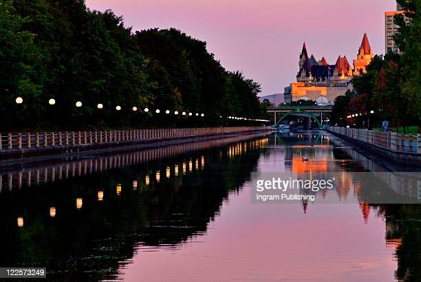 Canadian cities, morning light on the Rideau Canal, Ottawa Canada.