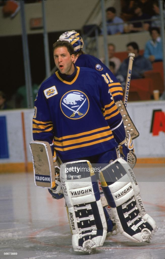 Canadian Clint Malarchuk Of The Buffalo Sabres Skates On The Ice In
