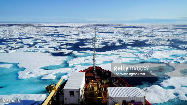 Canadian coast guard icebreaker Amundsen breaks through ice to the west of Cornwallis Island in the Canadian Arctic Scientists from the ArcticNet...