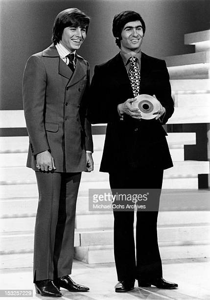 Canadian comedian actor writer director and author David Steinberg introduces teen idol Bobby Sherman on the short lived ABC TV show 'Music Scene' in...
