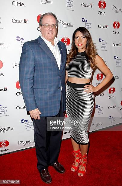 Canadian Consul General James Villeneuve and Aliya Jasmine Sovani attends Canada's Grammy Night at Raleigh Studios on February 11 2016 in Los Angeles...