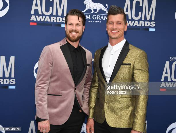 Canadian country music duo High Valley arrive for the 54th Academy of Country Music Awards on April 7 2019 in Las Vegas Nevada
