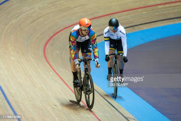 Canadian cyclist Rachel McKinnon competes against Australian Amber Walsh in a F3539 sprint semifinal during the 2019 UCI Track Cycling World Masters...
