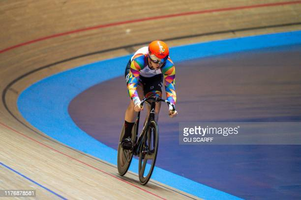 Canadian cyclist Rachel McKinnon competes against the USA's Dawn Orwick in the first race of their F3539 Sprint Final during the 2019 UCI Track...