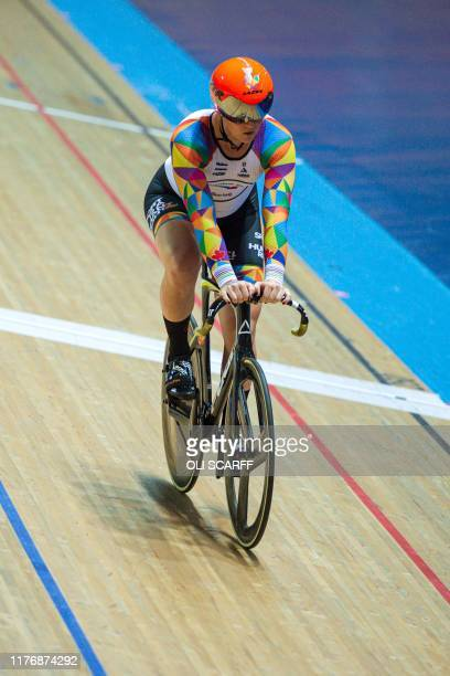 Canadian cyclist Rachel McKinnon competes in a F3539 sprint semifinal during the 2019 UCI Track Cycling World Masters Championship in Manchester on...