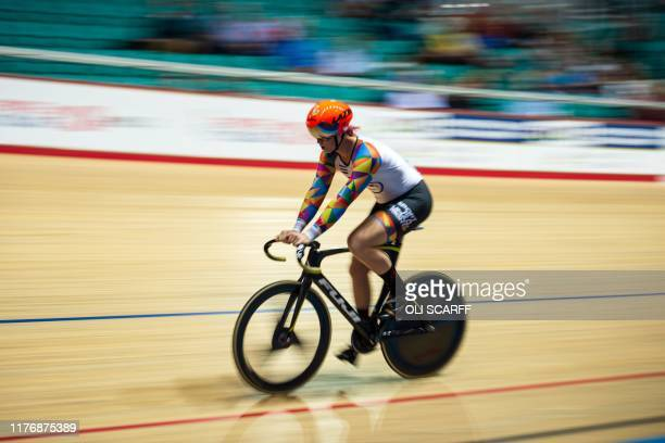 Canadian cyclist Rachel McKinnon competes in her F3539 sprint semifinal during the 2019 UCI Track Cycling World Masters Championship in Manchester on...