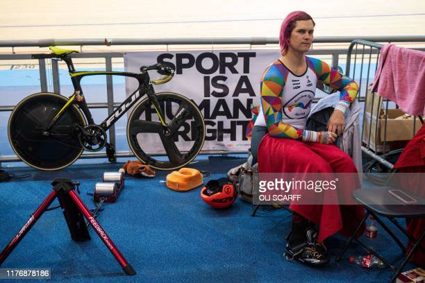 Canadian cyclist Rachel McKinnon poses for a photograph before competing against the USA's Dawn Orwick in their F3539 Sprint Final during the 2019...