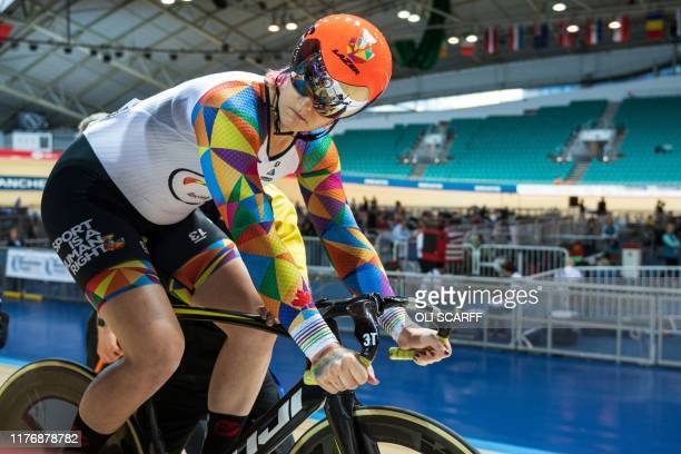 Canadian cyclist Rachel McKinnon prepares to compete against the USA's Dawn Orwick in their F3539 Sprint Final during the 2019 UCI Track Cycling...