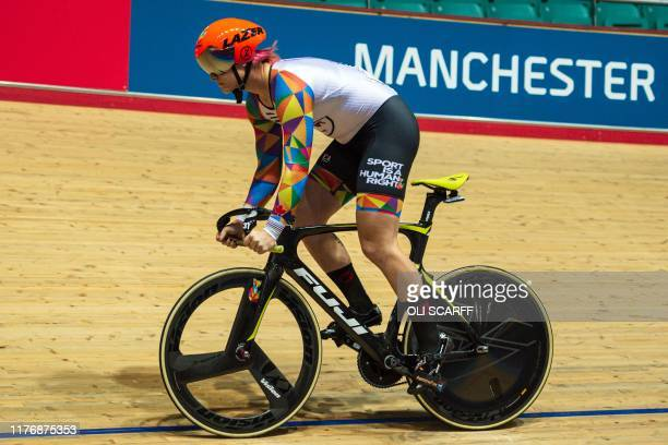 Canadian cyclist Rachel McKinnon prepares to compete in her F3539 sprint semifinal during the 2019 UCI Track Cycling World Masters Championship in...