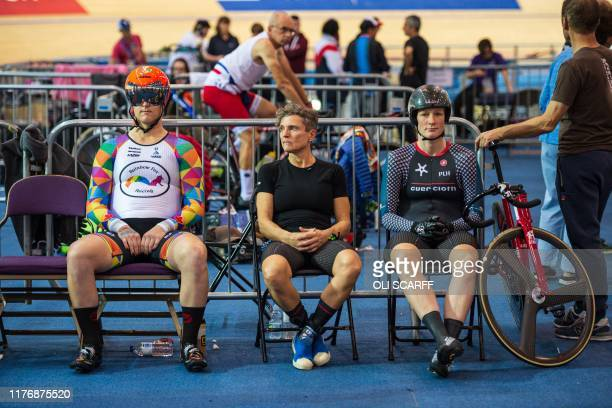 Canadian cyclist Rachel McKinnon prepares to race against Australian Amber Walsh in their F3539 sprint semifinal during the 2019 UCI Track Cycling...