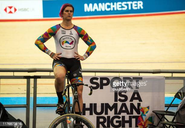 Canadian cyclist Rachel McKinnon warms up before competing in her F3539 sprint semifinal during the 2019 UCI Track Cycling World Masters Championship...
