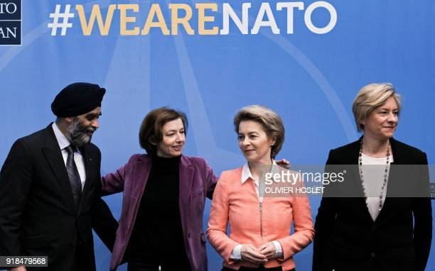 Canadian Defence Minister Harjit Singh Sajjan French Defence Minister Florence Parly German Defence Minister Ursula von der Leyen and Italian Defence...