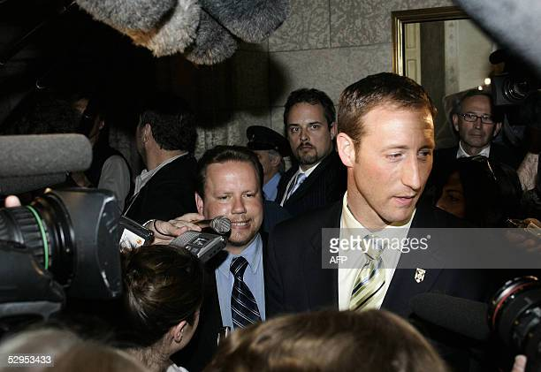 Canadian deputy Conservative Leader Peter MacKay jilted boyfriend of exConservative Belinda Stronach is scrummed outside the House of Commons in...