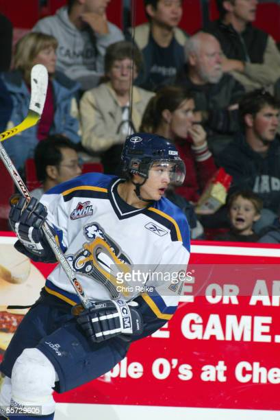 Canadian Devin Setoguchi of the Saskatoon Blades on the ice against the Vancouver Giants at Pacific Coliseum, Vancouver, British Colombia, Canada,...