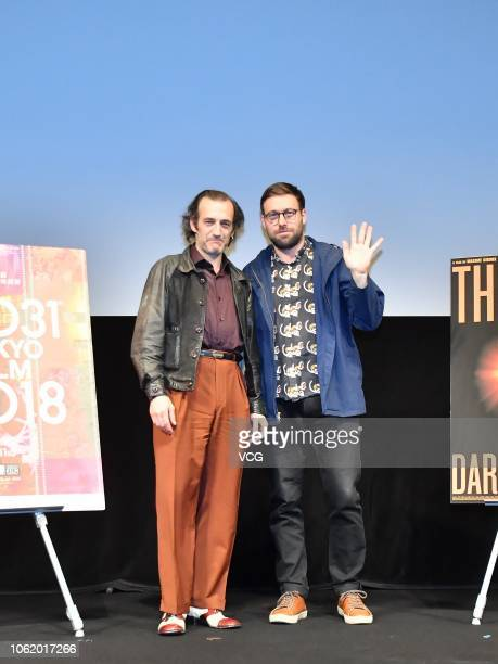 Canadian director Maxime Giroux and Canadian actor Martin Dubreuil attend a press conference of film 'The Great Darkened Days' at Ex Theater during...