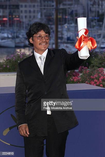 Canadian Director Zacharias Kunuk winner of the Golden Camera Award for his film 'Atanarjuat The Fast Runner' at the 54th Cannes Film Festival Palme...