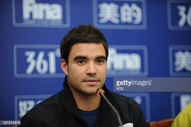 Canadian diver Alexandre Despatie attends the 2010 Diving World Cup press conference on June 1 2010 in Changzhou Jiangsu province of China The 17th...