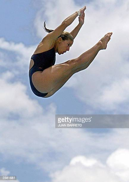 Canadian diver Blythe Hartley performs at the Olimpic Complex Juan Pablo Duarte in Santo Domingo during the XIV Panamerican Games 08 August 2003 AFP...