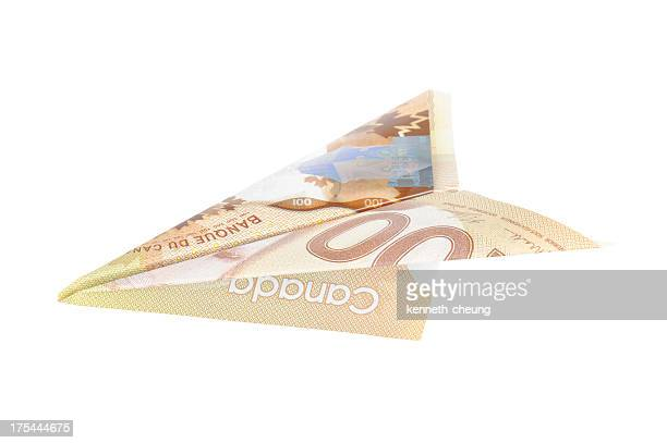 canadian dollar airplane (w/ path) - canadian one hundred dollar bill stock pictures, royalty-free photos & images